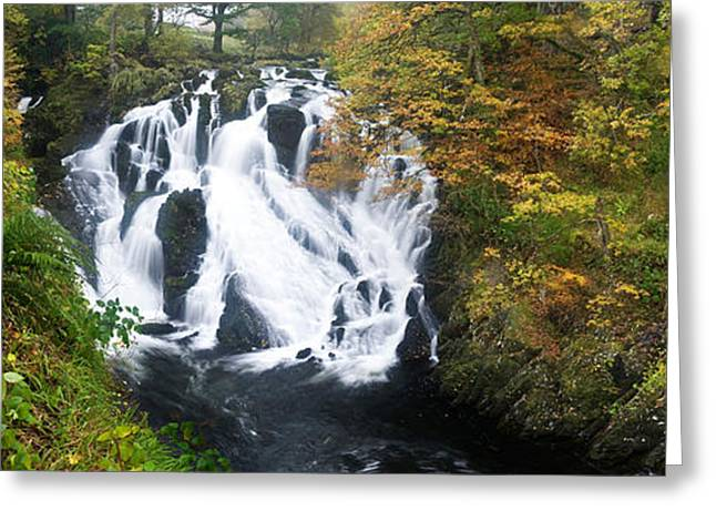 Autumn Colors Greeting Cards - Waterfall In A Forest, Swallow Falls Greeting Card by Panoramic Images