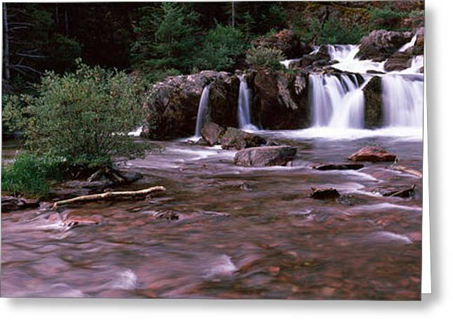 Waterfall In A Forest, Us Glacier Greeting Card by Panoramic Images