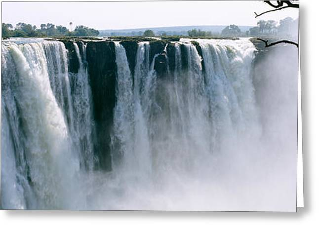 Zambezi River Greeting Cards - Waterfall In A Forest, Victoria Falls Greeting Card by Panoramic Images