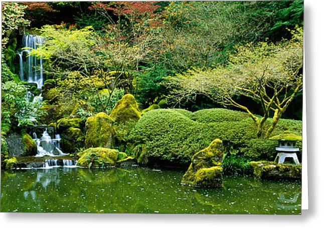 Pond In Park Greeting Cards - Waterfall In A Garden, Japanese Garden Greeting Card by Panoramic Images