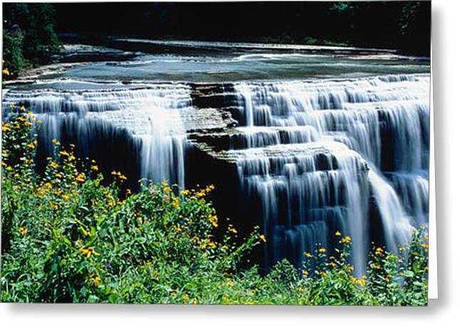 Waterfall In A Park, Middle Falls Greeting Card by Panoramic Images