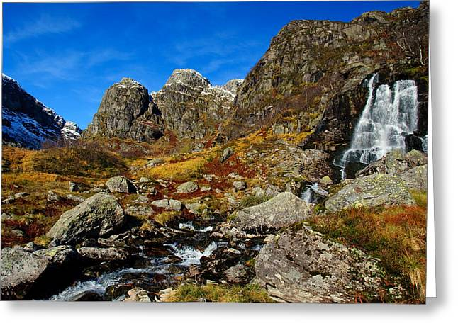 Waterfall In Autumn Mountains Greeting Card by Gry Thunes