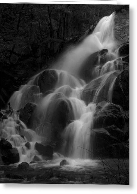 Stream Greeting Cards - Waterfall in Black and White Greeting Card by Bill Gallagher