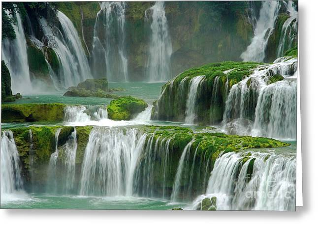 Detian Greeting Cards - Waterfall in Green Greeting Card by Charline Xia