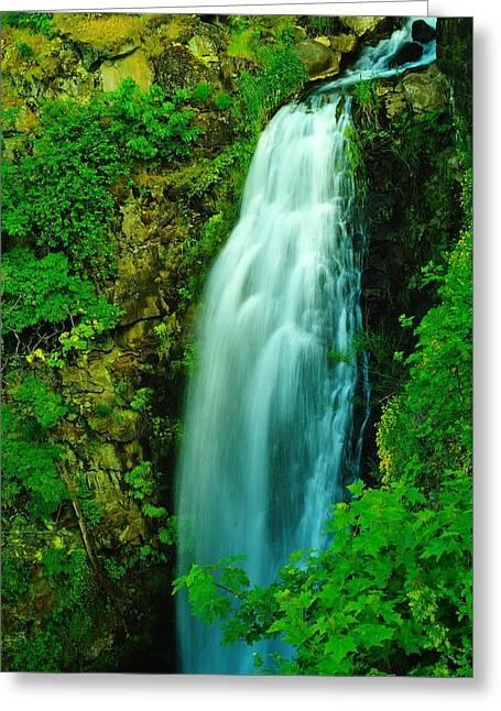 Waterfall In Hood River Oregon Greeting Card by Jeff Swan