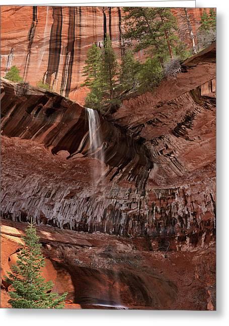 Waterfall In Kolob Canyons Greeting Card by Leland D Howard