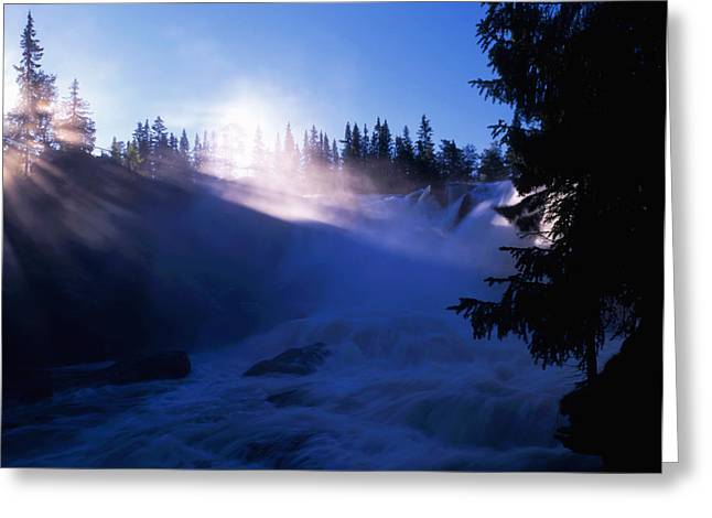 Water Flowing Greeting Cards - Waterfall in sunshine Greeting Card by IB Photo