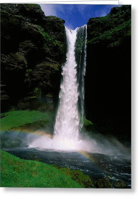Falling Water Greeting Cards - Waterfall In The Forest, Kvernufoss Greeting Card by Panoramic Images