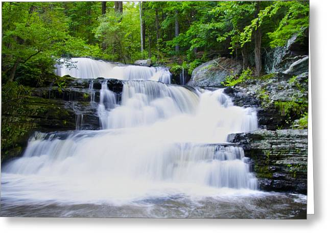Waterfall in the Pocono Mountains Greeting Card by Bill Cannon
