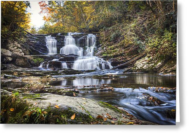 Reflections In River Greeting Cards - Waterfall in the Smokies Greeting Card by Debra and Dave Vanderlaan