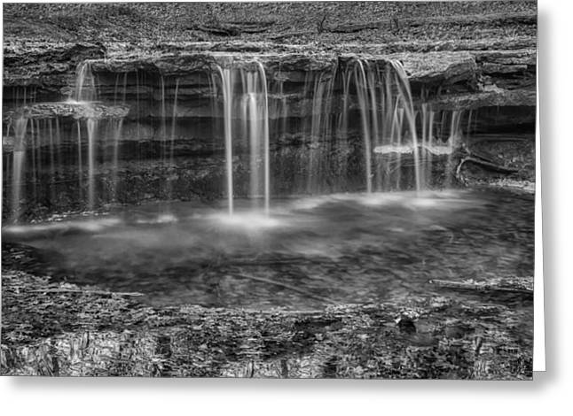Ledge Greeting Cards - Waterfall in Winter - Platte River State Park Greeting Card by Nikolyn McDonald
