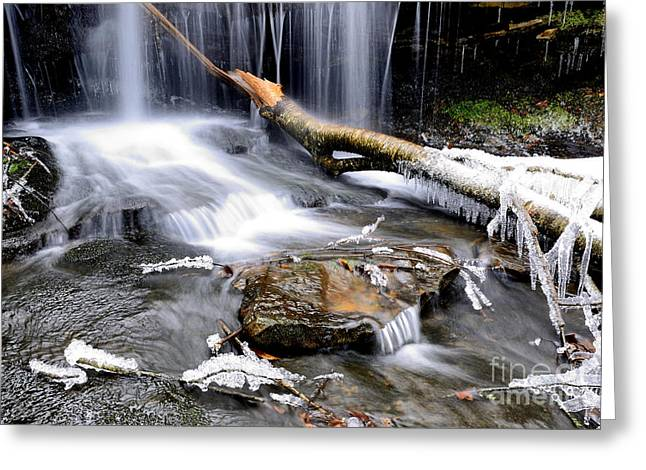 Lin Greeting Cards - Waterfall in Winter Greeting Card by Thomas R Fletcher