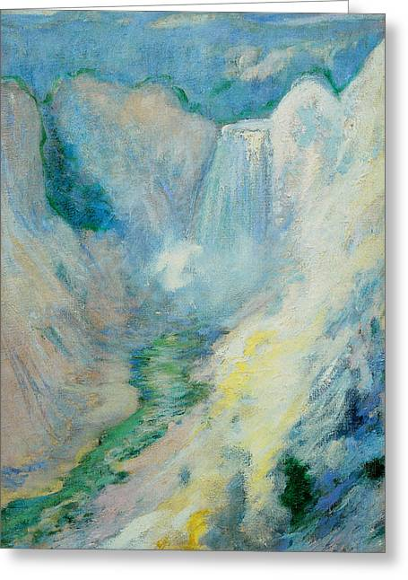 Waterfall In Yellowstone Greeting Card by John Henry Twachtman