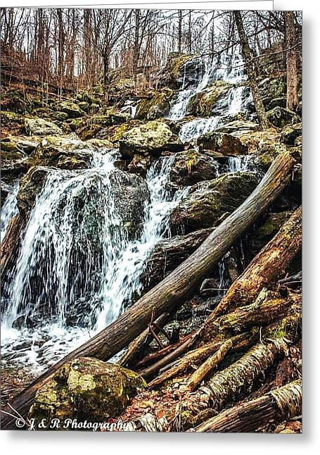 Waterfalls Pyrography Greeting Cards - Waterfall Greeting Card by James Young