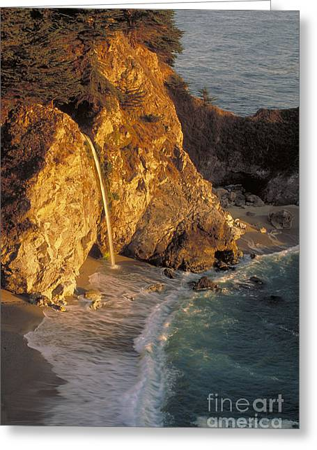 Pfeiffer Beach Greeting Cards - Waterfall, Julia Pfeiffer Burns State Greeting Card by George Ranalli