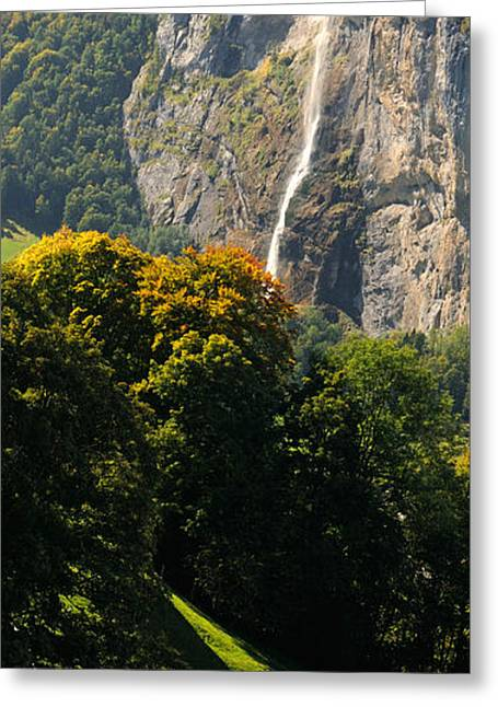 Lauterbrunnen Greeting Cards - Waterfall, Lauterbrunnen Valley Greeting Card by Panoramic Images