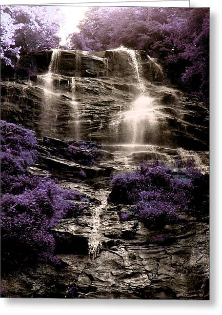 Decor Photography Pyrography Greeting Cards - Waterfall Greeting Card by Linda Billege