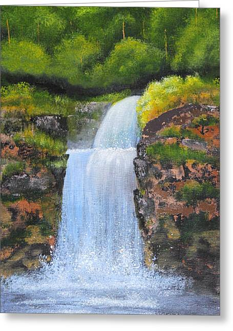 Tranquil Drawings Greeting Cards - Waterfall Greeting Card by Nirdesha Munasinghe