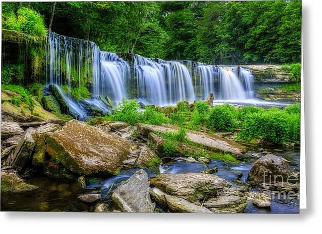 Waterfalls Pyrography Greeting Cards - Waterfall of Keila Greeting Card by Mario Mesi