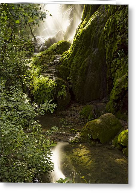 Saba Rock Greeting Cards - Waterfall Of Light Greeting Card by Jonathan Davison