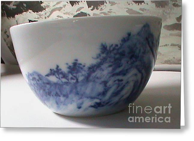 Blue And White Ceramics Greeting Cards - Waterfall On Ceramic  Greeting Card by Champion Chiang