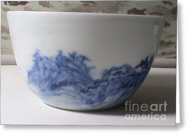 Blue And White Ceramics Greeting Cards - Waterfall On  Greeting Card by Champion Chiang