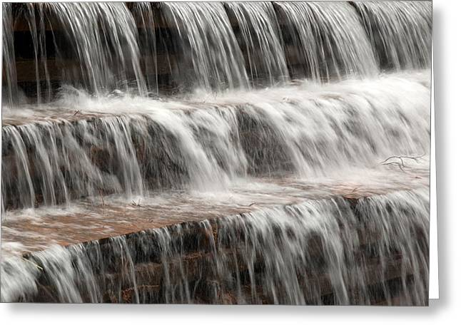 Waterfall Greeting Cards - Waterfall over a dam on Waba Creek. Greeting Card by Rob Huntley