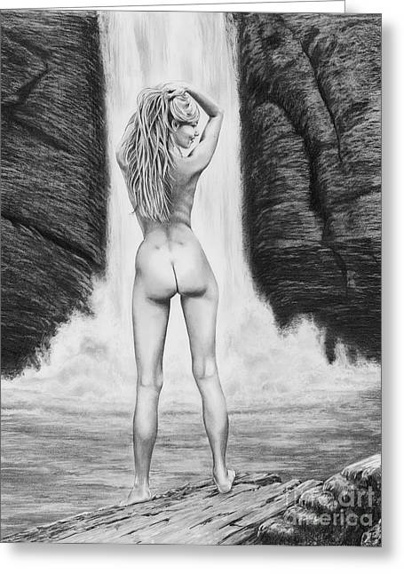 Figure Drawing Greeting Cards - Waterfall pin up girl Greeting Card by Murphy Elliott