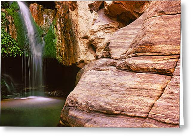 Water In Caves Greeting Cards - Waterfall Rushing Through The Rocks Greeting Card by Panoramic Images
