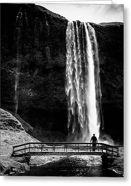 Bw Waterfalls Greeting Cards - Waterfall Seljalandsfoss Iceland black and white stark contrast Greeting Card by Matthias Hauser