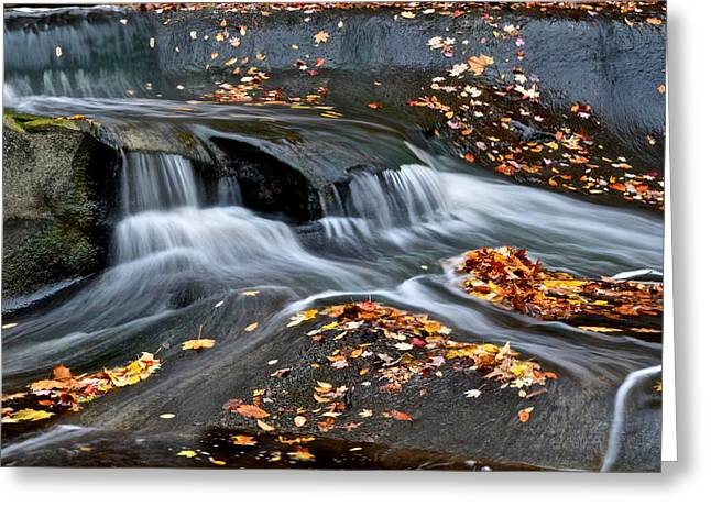 Falling Water Creek Greeting Cards - Waterfall Simplicity Greeting Card by Frozen in Time Fine Art Photography