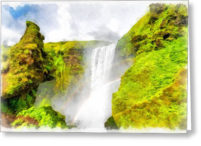 Double Rainbow Digital Art Greeting Cards - Waterfall Skogafoss Iceland Aquarell Painting Greeting Card by Matthias Hauser