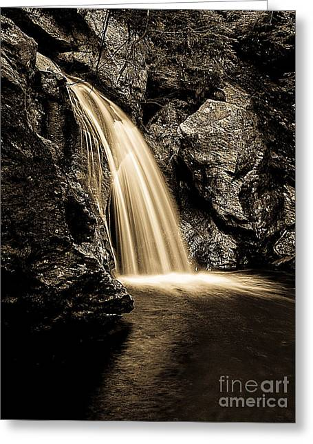 Stowe Greeting Cards - Waterfall Stowe Vermont Sepia Tone Greeting Card by Edward Fielding