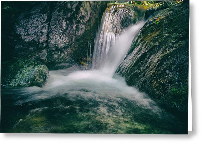 Becky Greeting Cards - Waterfall Greeting Card by Stylianos Kleanthous