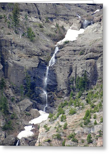 Waterfall Photographs Greeting Cards - Waterfall through the snow Greeting Card by Dan Sproul