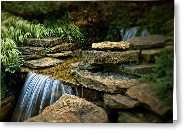 Falling Water Creek Greeting Cards - Waterfall Greeting Card by Tom Mc Nemar