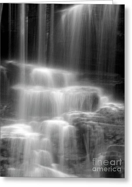 Black And White Waterfall Greeting Cards - Waterfall Greeting Card by Tony Cordoza