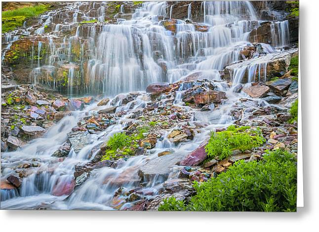 Clean Water Greeting Cards - Waterfall Triple Falls Glacier National Park   Greeting Card by Rich Franco