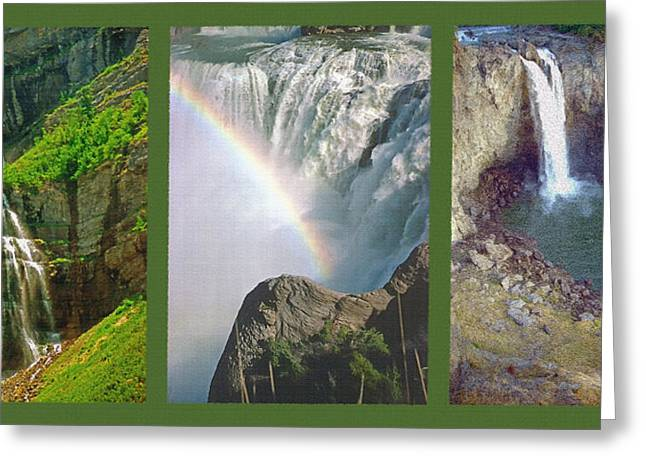 Pouring Mixed Media Greeting Cards - Waterfall Triptych Greeting Card by Steve Ohlsen