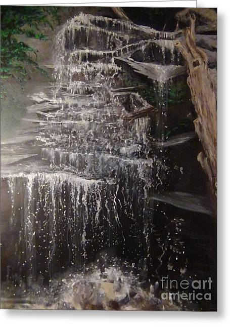 Walhalla Greeting Cards - Waterfall Tunnel Park South Carolina of my Original acrylic Painting Greeting Card by Connie Holman