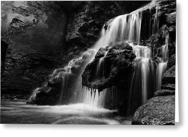 Waterfalls Pyrography Greeting Cards - Waterfall Greeting Card by Vetre Antanaviciute Meskauskiene