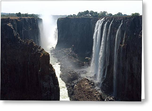 Zimbabwe Photographs Greeting Cards - Waterfall, Victoria Falls, Zambezi Greeting Card by Panoramic Images