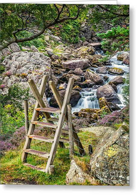 Stone Steps Greeting Cards - Waterfall Way Greeting Card by Adrian Evans