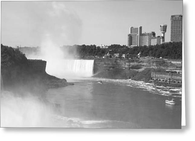 Fall Photography Greeting Cards - Waterfall With City Skyline Greeting Card by Panoramic Images