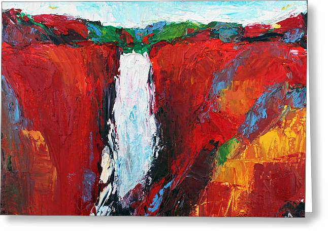 Waterfalls 1 Greeting Card by Becky Kim