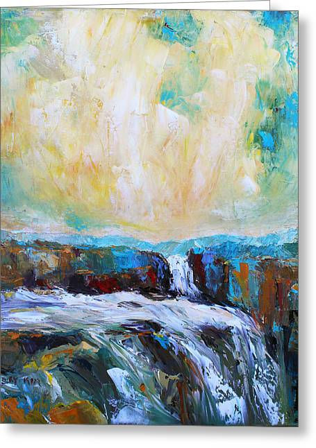 Pallet Knife Greeting Cards - Waterfalls 2 Greeting Card by Becky Kim