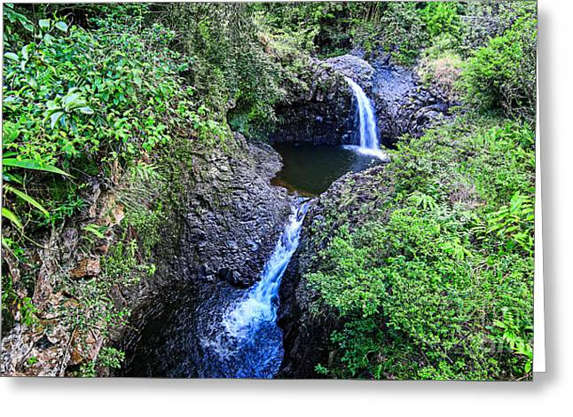 Waterfalls And Pools Maui Hawaii Greeting Card by Edward Fielding