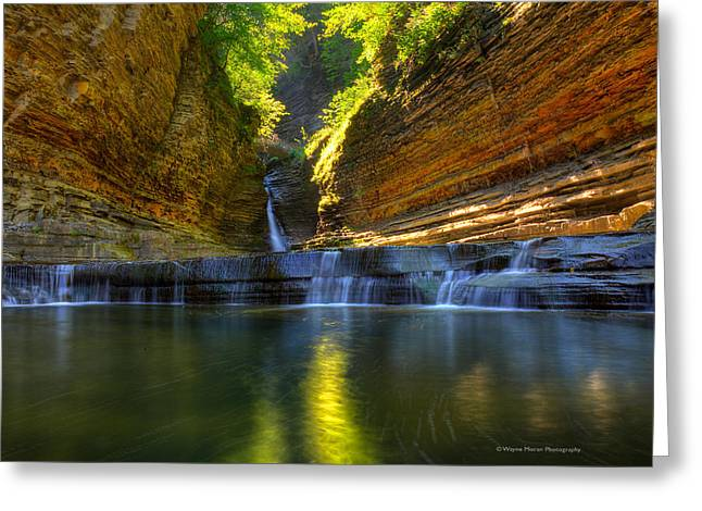 Seneca Greeting Cards - Waterfalls at Watkins Glen State Park Greeting Card by Wayne Moran