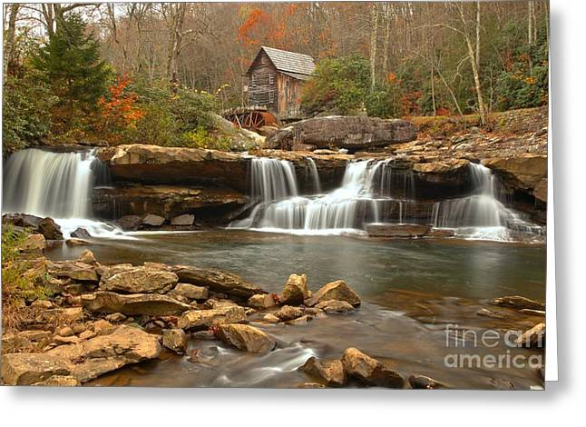 Grist Mill Greeting Cards - Waterfalls Below The Mill Greeting Card by Adam Jewell