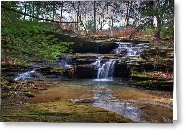 Spillways Greeting Cards - Waterfalls Cascading Greeting Card by Douglas Barnett